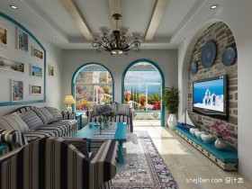 地中海风格家居客厅装修效果图大全2013图片