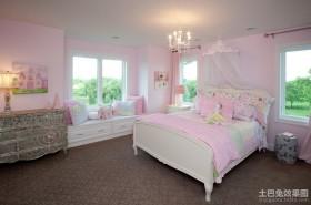卧室飘窗装修效果图 美式乡村别墅公主卧室图片