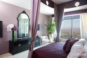 现代风格紫色婚房卧室装修效果图