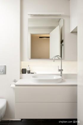 40平米白色单身公寓卫生间设计
