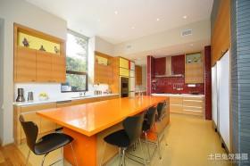 现代田园风格厨房整体橱柜装修效果图
