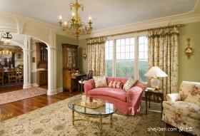 50平米小户型装修 欧式田园客厅效果图欣赏
