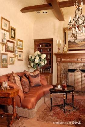 美式小客厅沙发图片