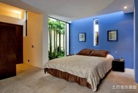 蓝色背景墙卧室装修效果图大全 现代简约风格家装卧室图片