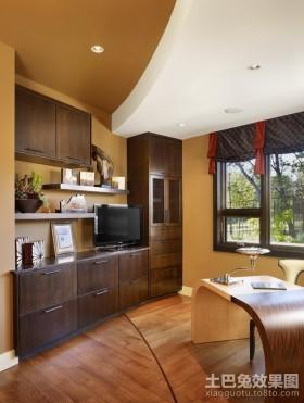 书房书桌现代欧式风格书房客厅图片