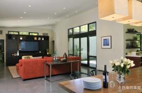 简约风格别墅客厅背景墙装修效果图