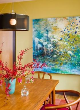 餐厅颜色搭配装饰 现代餐厅背景墙装修效果图