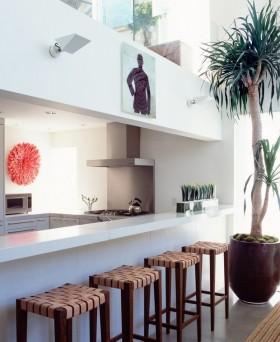 时尚简约的厨房吧台装饰效果图