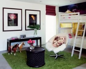 现代绿色调上下铺儿童卧室装修效果图