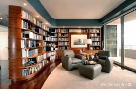 现代转角书柜效果图