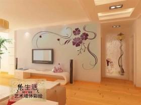 现代背景墙装修手绘电视背景墙图片