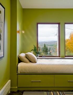 后现代风格装修图片 绿色卧室装修效果图