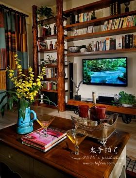 地中海风格客厅电视背景墙装修效果图-鬼手帕设计