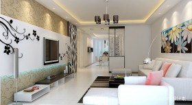 客厅电视背景墙装修效果图 两室两厅装修效果图