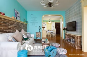 80平米小户型田园风格客厅电视背景墙图片