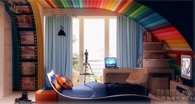 现代风格装修效果图 多彩颜色儿童房设计
