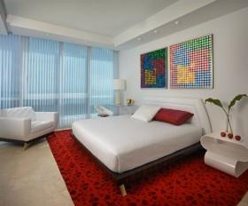 现代风格婚房卧室装饰效果图 卧室落地窗采光装修设计图片