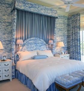 蓝色卧室背景墙装修效果图大全 卧室窗帘图片