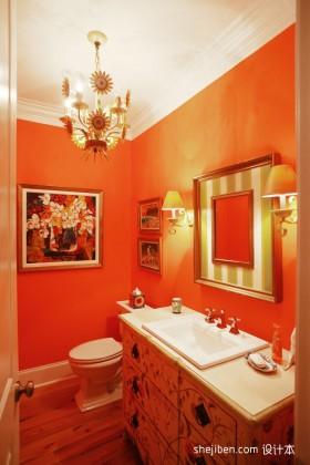 橙色小卫生间装修效果图  小面积卫生间装修效果图