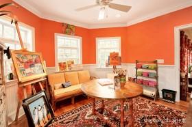 橙色书房工作室装修效果图