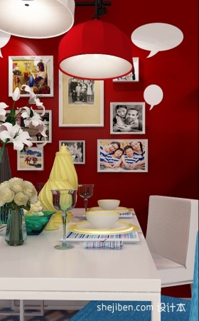 红色餐厅照片墙装修效果图
