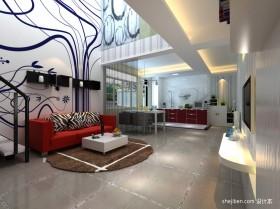 现代风格跃层客厅背景墙装修效果图
