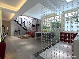 现代风格复式楼玄关珠帘装饰效果图