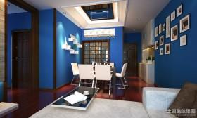 蓝色地中海风格餐厅照片墙装修