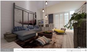 简约淡雅的冷色调客厅装修效果图