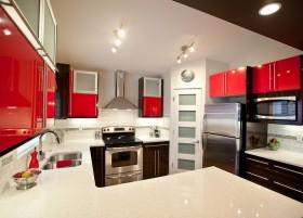 红色橱柜厨房装修效果图大全