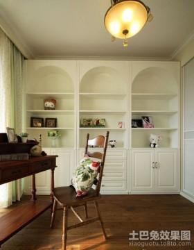 田园风格书房壁柜储物柜装修