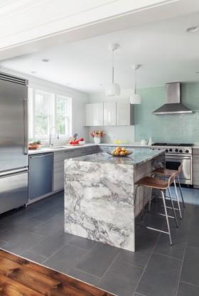 开放式厨房大理石吧台装修效果图