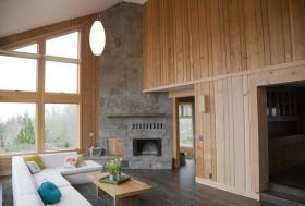 原木打造复式楼客厅装修效果图