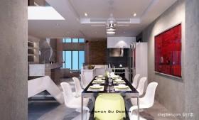 复式楼简约现代风格餐厅装修效果图