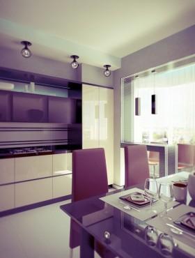 紫色浪漫的餐厅装修效果图