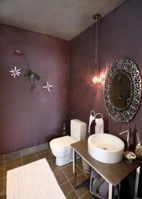 白领公寓深紫色卫生间洗手台装修效果图