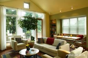 暖黄色调黄色客厅装修效果图大全2012图片