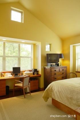 暖黄色调卧室书房装修效果图大全2012图片