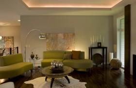 客厅绿色沙发天花板装修效果图