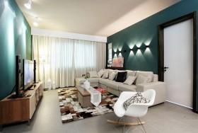 墨绿色客厅沙发背景墙装修效果图大全