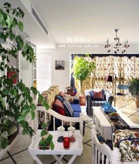 田园风格客厅沙发窗帘装修效果图-鬼手帕设计