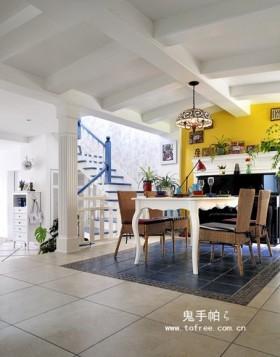 田园风格复式楼餐厅天花板吊顶装修效果图