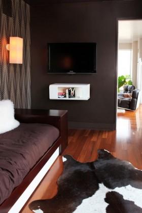 卧室深色调电视背景墙装修效果图大全