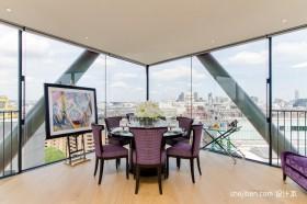 顶层紫色餐厅餐桌装修效果图