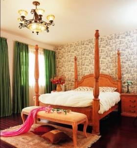 美式田园风格婚房卧室背景墙窗帘装修效果图