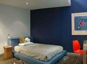 蓝色背景墙卧室装修效果图大全