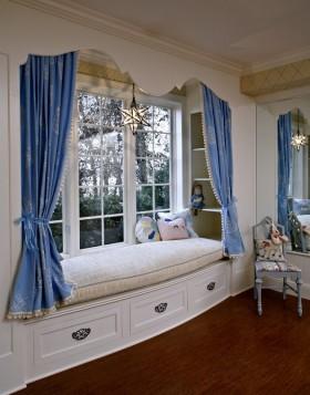 欧式风格蓝色飘窗装修效果图大全2016图片