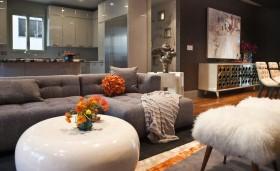 三室两厅装修效果图 灰色客厅沙发装修效果图