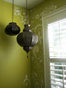 绿色背景墙装修效果图 创意古典的灯具装修