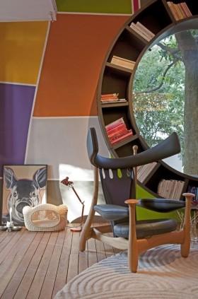 现代风格圆弧形书架装修效果图大全